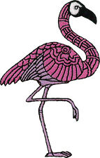 """Flamingo (embroidered) Patch 9cm x 6.5cm (3 1/2"""" x 2 1/2"""") Iron On / Sew On"""