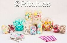 X 12  Plastic Sweet Jars Small & Large Kit 100 Pink Bags 2 Tongs & Scoops Buffet