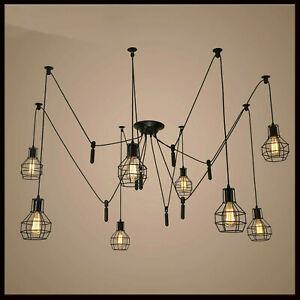 E27 Vintage Chandelier Cage Ceiling Spider Light Industrial Pendant DIY Lamp