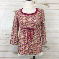 Boden Women's Pink Floral Tie Waist 3/4 Sleeve Popover Cotton Blouse. Size 10.