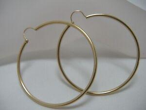 "14k yellow gold hoop earrings 2 1/2"""