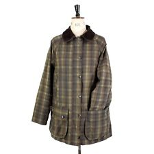 Women's BARBOUR BEDALE Green Brown Checked WAXED COTTON Outdoor Farmer Jacket 14