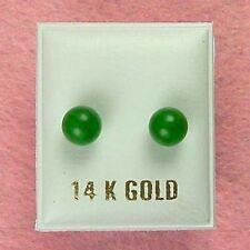 14K Gold - 6mm Green Jade Ball Stud Earrings (GE212)