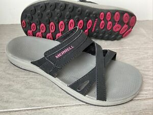 Merrell Air Cushion Slide Sandals, Women's Size 8 EU 39, Black / Rose Red