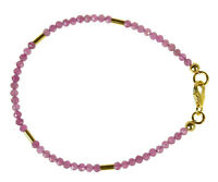 Turmalin rosa Armband 925 Silber vergoldet Armkette Z314