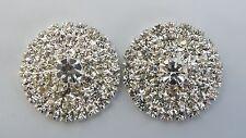 1 Pair Silver Tone Diamonte Button Centres - Diy Browbands * New *