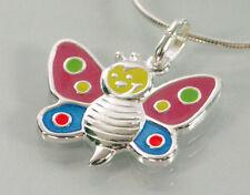 925 ECHT SILBER *** Schmetterling Anhänger pink-blau