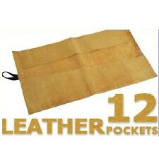 SUEDE LEATHER 12 POCKET CHISEL SPANNER ROLL UP TOOL HOLDER POUCH STORAGE CASE 24