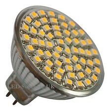 8 x MR16 60 SMD LED 12V (10~30V DC/10~18V AC) 330LM 3.5W White Bulbs ~50W