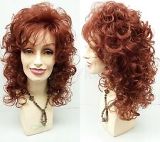 Auburn Red Curly Wig Long Bangs Synthetic Dolly Parton Style Theater Drag 18""