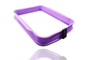 COOX Auflaufform mit Glasplatte - 37,3 x 30,5 x 5,5 cm Flieder Silikon Backform