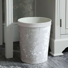 Pale pearl pink crushed velvet waste paper rubbish bin basket storage bedroom