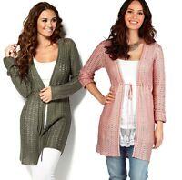 CLEARANCE! Ladies Long Cardigan Plus UK Size 10 - 28 Pale Apricot Khaki Green