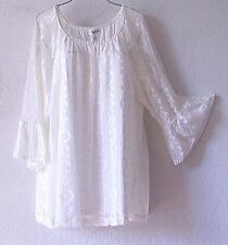 NEW~JPR~White Ivory Crochet Lace Romantic Peasant Blouse Shirt Plus Top~26/28/3X