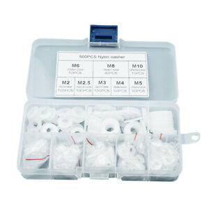 Rondelles Plastique Entretoise Nylon M2 - M10 Rondelle pour Mécanique 500 Pcs SH