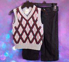 George 2 Piece Suit Baby Infant Boy 18M Pants Sweater Vest Set Argyle Grey Black