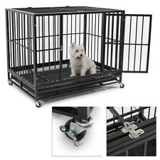 """42"""" Dog Crate Kennel Heavy Duty Pet Cage Playpen Removable Tray w/ Wheels Black"""