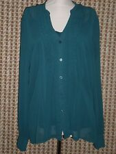 NWT Women's Worthington Camisole/Long Sleeve Zenith Teal Blouse XL MSRP $36.00