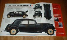 ★★ 1952 Citroen 11CV Traction Avant Originale Imp Brochure 11 Cv 52 Specifiche