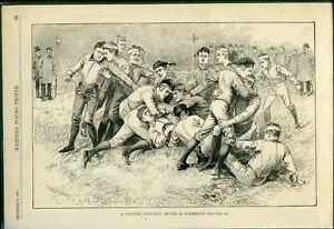 1885 Harper's Young People A COLLEGE FOOTBALL MATCH Lithograph BLACK AND WHITE