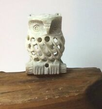 Intricate Sculpture Owl Carved Soapstone  figurine Collectible mother and cub