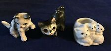 """Vintage Miniature Figurines 2 Cats & 1 Candle Holder 1 1/4"""",1 3/4"""" & 2 1/4"""" Tall"""