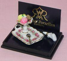 Dollhouse Miniature Ice Cream Dish Floral Porcelain Tray Reutter Porcelain 1:12