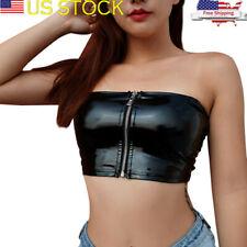 68f98b6fc9 Womens Punk Leather Motorcycle Metallic Short Crop Top T shirt Blouse Vest  Club
