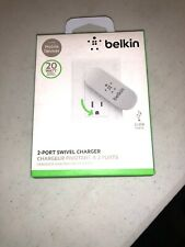 Belkin 2-Port Swivel Wall Charger Plug - White