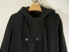 Jason Kole Women Hooded 100% Wool Long Coat Overcoat Charcoal Gray 6