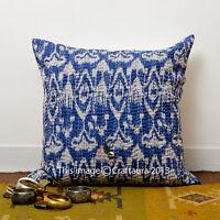 Indian Handmade Ikat Cushion Cover Thread kantha Work Throw Ethnic Pillow Decor