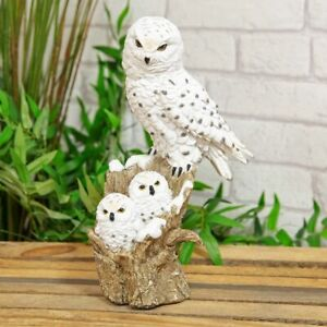 Resin Snowy Owl and Owlets figurine by Naturecraft 28cm x 18cm