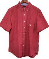 Chaps Ralph Lauren Easy Care Mens Red Plaid Short Sleeve Button Up Shirt Size L