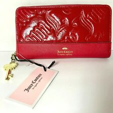 Juicy Couture Delux Wallet Scarlet Red Large Clutch Zippered Gold Key Zip Around