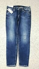 NEW Silver Jeans Women's Elyse Mid Rise Curvy Distressed Wash Blue Jeans Size 29