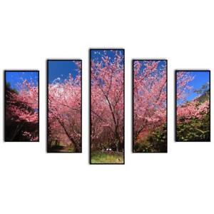 "5pc Canvas Wall Art Framed Nature Floral Canvas Wall Art Set Wall Decor 60x40"""