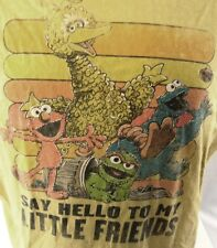 Sesame Street  Say Hello to My Little Friends Distressed Yellow Tee Size L