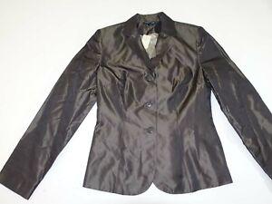 Ann Taylor Women's 3 Button Blazer Jacket Size 4 NWT Dark Brown 100% Silk