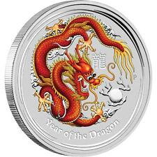 Perth Mint Australia 2012 Colored Dragon 1/2 oz .999 Silver Coin