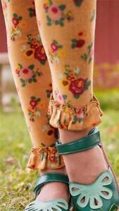 Matilda Jane HAYRIDE Leggings 6 Orange Floral Velour Ruffle Hem Girls NWT