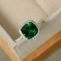 2 Ct Cushion Cut Green Emerald Halo Engagement Ring Solid 14K White Gold Over