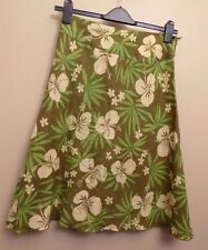 Monsoon UK10 EU38 US6 brown and green floral linen A-line skirt