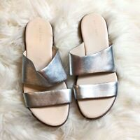 Cole Haan Womens Size 6.5 Grand Silver Leather Sandals Shoes Metallic Flats