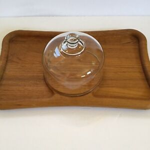 Goodwood Thailand Genuine Teak Cheese Tray Platter Glass Dome 18 inch