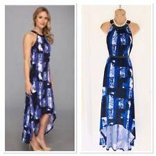3639fc3cc8f MICHAEL KORS Blue Leather Buckle Quartz Stripe Deep Hem Maxi Dress Size M   Uk 14