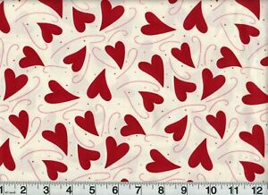 Flirtatious Fabric #17311 Tossed Hearts  OOP Quilt Shop Quality Cotton