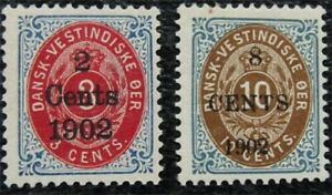 nystamps US Danish West Indies Stamp # 27,28 Mint OG H $28   L16x1078