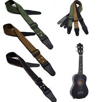 Adjustable Pure Cotton Bass Acoustic Guitar Strap Leather Ends Easy to use
