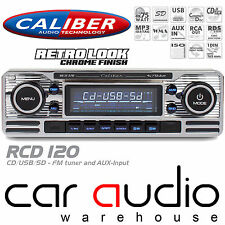 Classic Retro BLUETOOTH CD MP3 USB AUX Car Stereo Radio Player SILVER RCD120BT