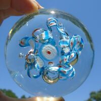 """Lovely Vintage Clear Art Glass 3"""" Round Paperweight w/White,Red, Blue,Bubbles"""